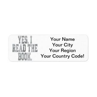 Yes I Read the Book Grey Custom Return Address Label