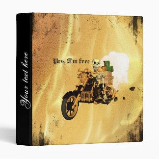 Yes, I'm free, funny skeleton drive motorcycle 3 Ring Binder