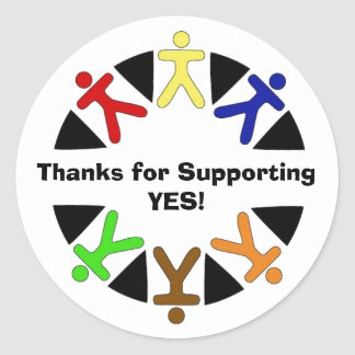 yes logo, Thanks for Supporting YES! Classic Round Sticker
