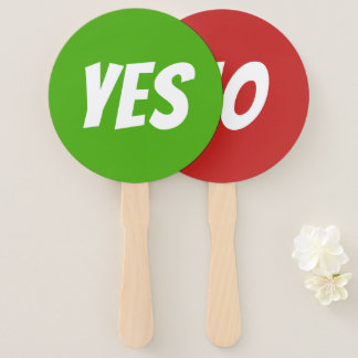 Yes / No bright green red quiz game signboards Hand Fan