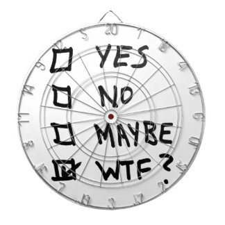 Yes, No, Maybe, WTF Next to Check Boxes Dartboard