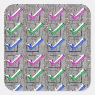 YES positive STROKES pattern NVN173 NavinJOSHI FUN Square Stickers