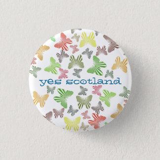 Yes Scotland Retro Butterflies Button Badge
