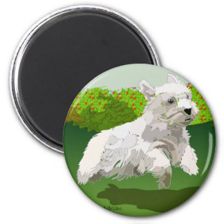 Yes!  Sealyhams can fly! 2 Inch Round Magnet