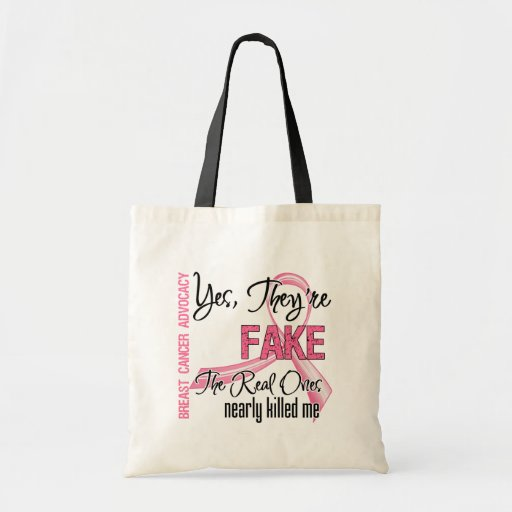 Yes They Are Fake - Breast Cancer Canvas Bag