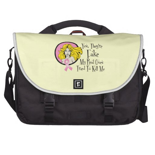 Yes They Are Fake Breast Cancer Survivor Laptop Bag