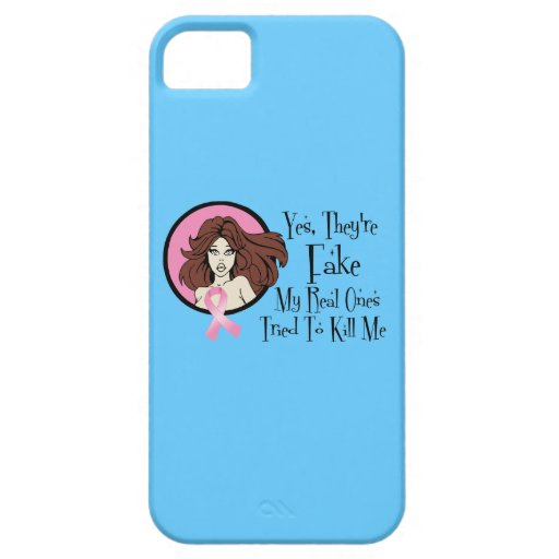 Yes They Are Fake Brunette Breast Cancer Survivor iPhone 5 Case