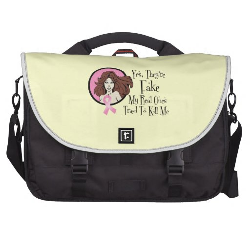 Yes They Are Fake Brunette Breast Cancer Survivor Laptop Computer Bag