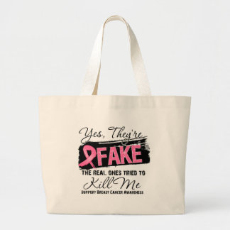 Yes Theyre Fake Real Ones (grunge) Breast Cancer Jumbo Tote Bag
