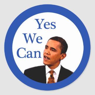 Yes We Can Barack Obama 2008 Classic Round Sticker