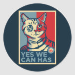 Yes We Can Has Round Stickers