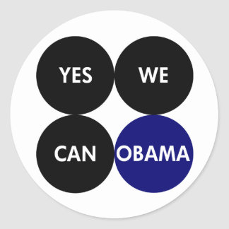 Yes We Can: Round Barack Obama Stickers