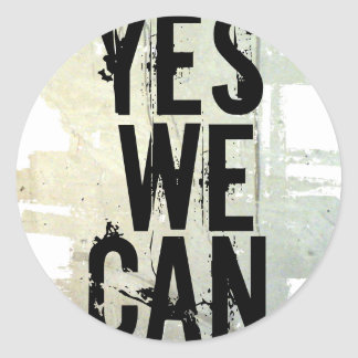 YES WE CAN sticker - concrt wall stickRnd