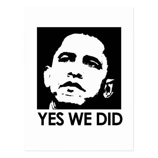 """Yes we did"" Postcard"