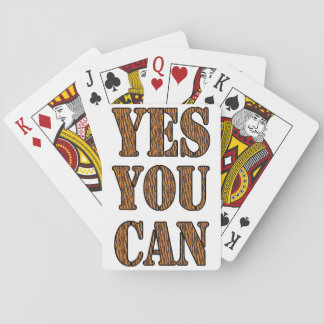 Yes You Can - Motivational Quote, Tiger Print Playing Cards