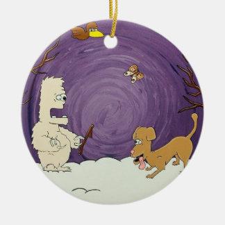 Yeti and Dog Christmas Tree Ornament