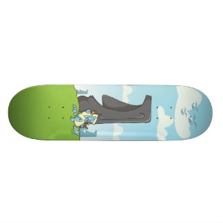 yeti drinking on easter island skate deck