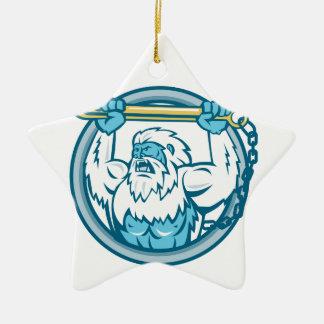Yeti Lifting J Hook Circle Retro Ceramic Ornament