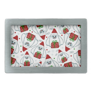 Yeti Xmas pattern Rectangular Belt Buckle