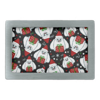 Yeti Xmas pattern Rectangular Belt Buckles