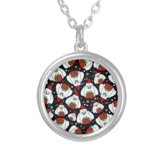 Yeti Xmas pattern Silver Plated Necklace