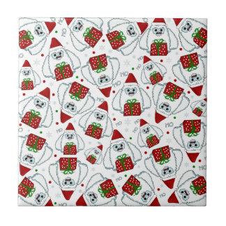 Yeti Xmas pattern Tile