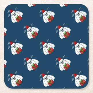 Yeti Xmas Square Paper Coaster