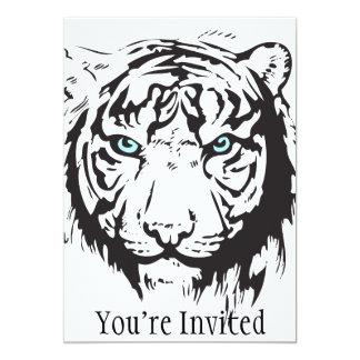 Yeux bleus principaux de tigre carton d'invitation  12,7 cm x 17,78 cm