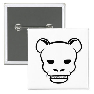 YG bear Skull white 2 Inch Square Button