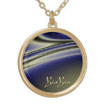 YiaYia Abstract Black and Blue Design Necklace