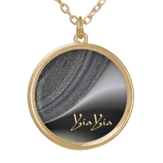 YiaYia Abstract Black and Gold Design Necklace