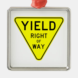 yield right of way Silver-Colored square ornament