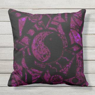 Yin an Yang Black and Deep Rose Haze SDL P Outdoor Pillow