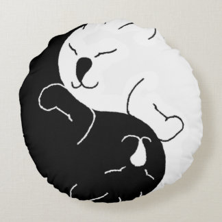 Yin and Yang Cats - Round Pillow