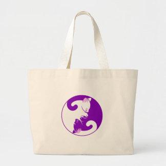 Yin and Yang Cats Sleeping Large Tote Bag