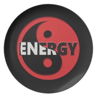 Yin and yang energy concept. dinner plates