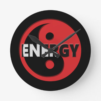 Yin and yang energy concept. round clock