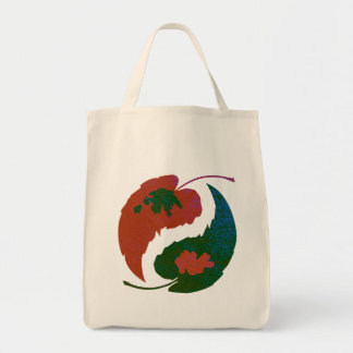 Yin and Yang Leaves Tote Bag