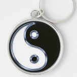 Yin and Yang Medallion Silver-Colored Round Keychain