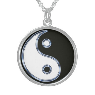 Yin and Yang Medallion Sterling Silver Necklace