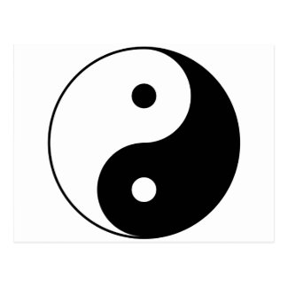 Yin and Yang Motivational Philosophical Symbol Postcard