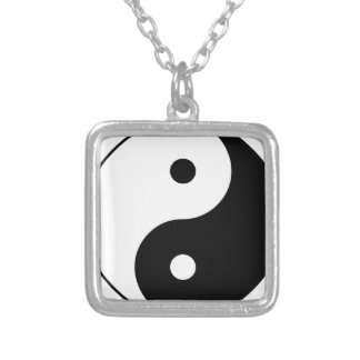 Yin and Yang Motivational Philosophical Symbol Silver Plated Necklace