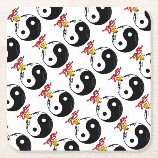Yin and Yang Ornament Square Paper Coaster