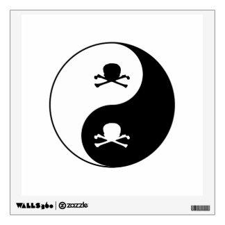 Yin and yang skulls wall decal