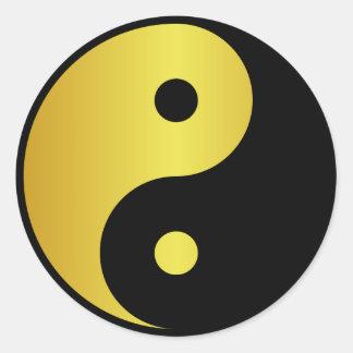 Yin and Yang symbol | Gold asian philosophy zen Classic Round Sticker
