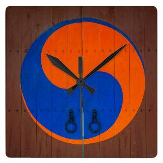Yin and Yang symbol, South Korea Square Wall Clock