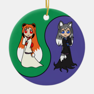 Yin and Yang The Fox Girls (Kitsune) Ceramic Ornament
