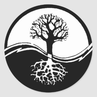 Yin and yang tree of life classic round sticker