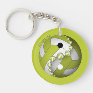 yin and yang volleyball lime or ANY color w name Keychain