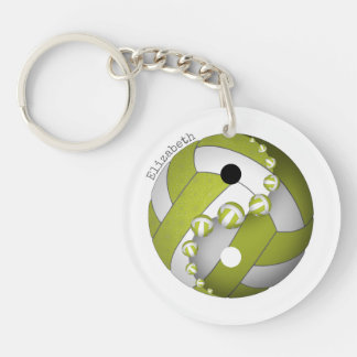 yin and yang volleyball lime or ANY colour w name Keychain